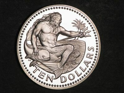 BARBADOS 1976 $10 Neptune Independence Silver Choice Proof