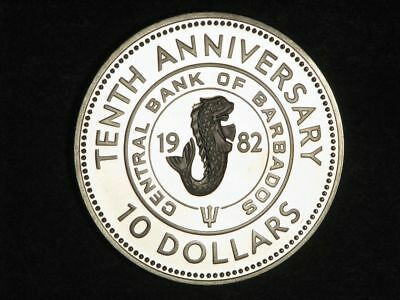 BARBADOS 1982 $10 Bank Anniv. Silver Crown Choice Proof - Mtg=851