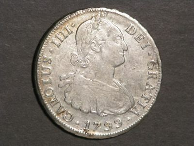 BOLIVIA 1799PTS-PP 8 Reales Silver Crown XF