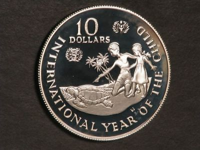 CAYMAN ISLANDS 1982 $10 Year of The Child Silver Crown Proof