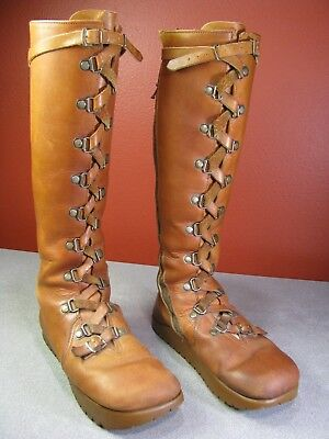 RARE 1970's Original Anne Kalso Earth Women's Tall Lace Up Leather Boots Shoes