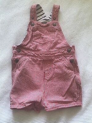 Baby Boden Boy red stripe Dungarees shorts Age 2-3