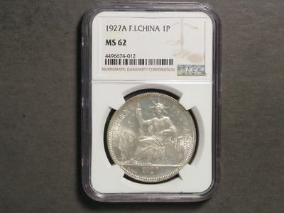 FRENCH INDO-CHINA 1927A 1 Piastre Silver NGC Slabbed MS-62