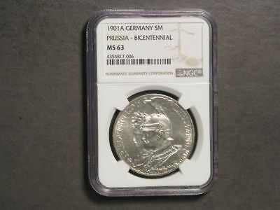 GERMANY-PRUSSIA 1901A 5 Mark Bicentennial Silver NGC Slabbed MS-63