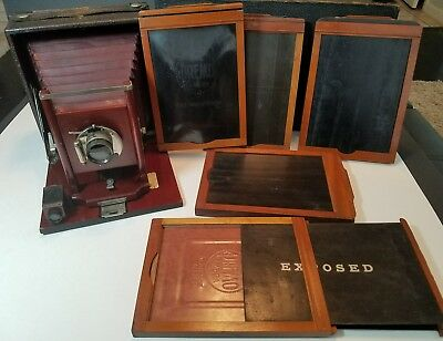 Rochester Optical Pony Premo No. 2 Camera Including Case and Wooden Holders