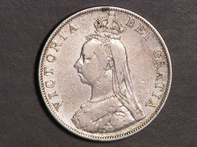 GREAT BRITAIN 1889 2 Florin Victoria Silver F-VF