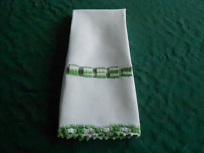 Antique Damask Towel With Unique White And Green Hand Crochet, Circa 1920
