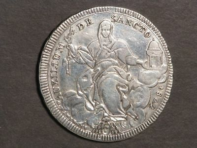 VATICAN-PAPAL STATES 1802 1 Scudo Silver Crown VF