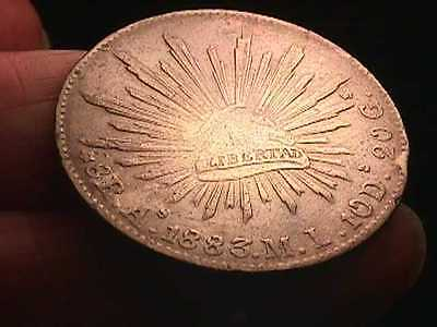 1883 8 REALE SILVER COIN   MINT As-M.I.  POSS A SCARCE MARK  HANDSOME