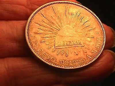 1899 Mexico Peso Silver Foreign Coin MINT - Mo A.M. LOVELY TONED HANDSOME COIN