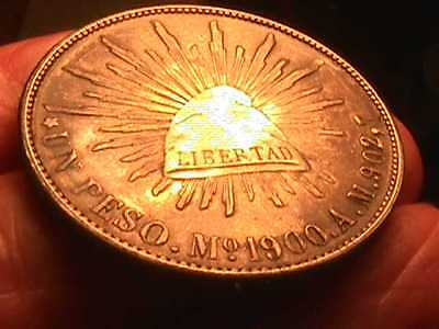 1900 Mexico Peso Silver Foreign Coin  - Mo /A.M.  LOVELY TONED HANDSOME COIN