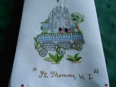 """""""""""st, Thomas, V.i.'' Hand Embroidered And Appliqued White Linen Towel, Cir. 1940"""