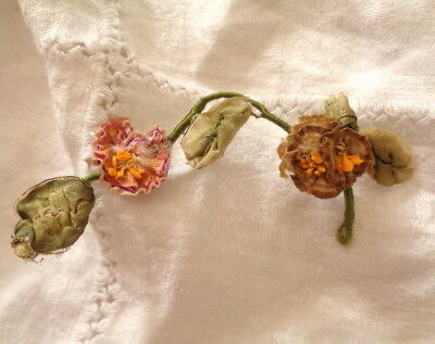 Edwardian Era French Silk Ombre Ribbonwork Branch With 2 Flowers & Leaves 4""