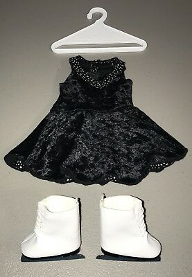 American Girl Doll Ice Skating Outfit w/Ice Skates Black/Silver Dress
