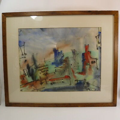 Pacific Northwest Artist Manfred Lindenberger Abstract City Scene Watercolor
