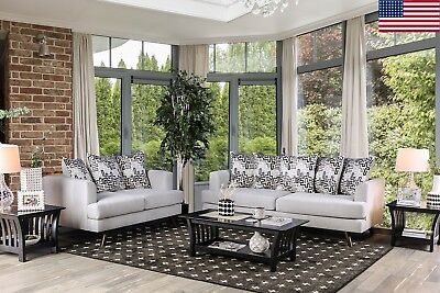 SILVER COLOR MODERN Retro Sofa Loveseat Upholstered Couch 2pc Set ...