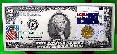 Money Us $2 Dollars 2009 Federal Reserve Note Atlanta Flag Of Australia Coin