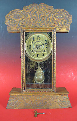 Antique Late 1800's New Haven Kitchen Mantle Parlor Shelf Gingerbread Clock yqz
