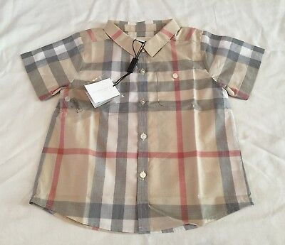 New With Tags Burberry Baby Boys Classic Shirt Size 18 Months Short Sleeve