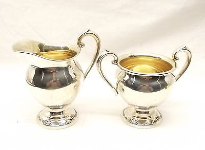 Vtg Heirloom Sterling Silver Damask Rose Sugar Bowl Creamer Set Coffee Oneida