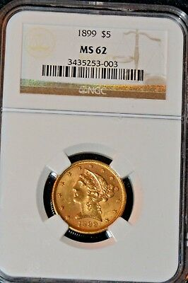 1899 $5 Coronet Gold Coin Ngc Ms62