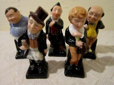 "5 Royal Doulton Mini 4"" Dickens Series Figurines; David Copperfield/pickwick + 3"
