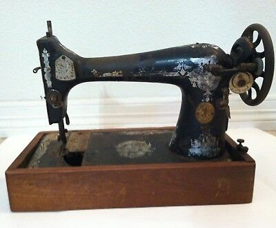Vintage sewing machine Singer black rustic table top for decor part AA616444