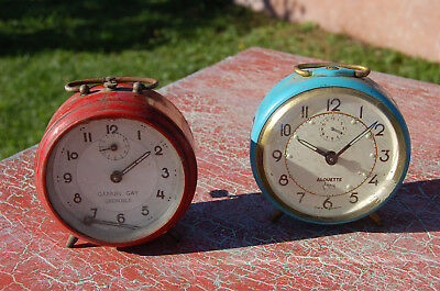 SET OF 2 ANTIQUE ALARM CLOCKS - A REVIEW or for parts -JAPY & GAY B2