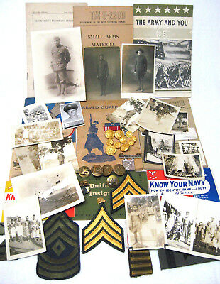 Lot of Vintage Military Items - WWI & 2 - Photos Buttons Badges Regulation Books