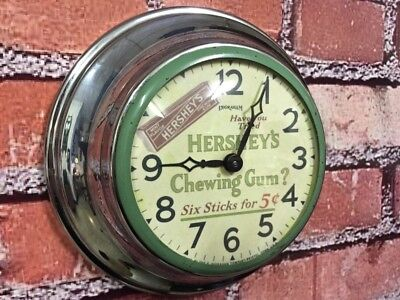 Rare Vtg Antique Ingraham Hershey Gum-Country Store-Diner-Chrome Wall-Clock Sign