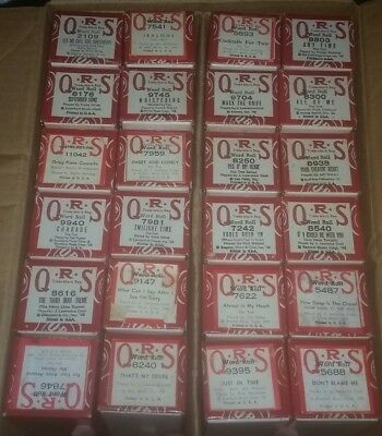 QRS Word Roll Lot 24 ORIGINAL Player Piano Scrolls Foxtrot Mixed Boxed w titles!