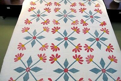 DAMAGED But BEAUTIFUL Antique MEXICAN ROSE Applique Cotton Hand Sewn Quilt; FULL