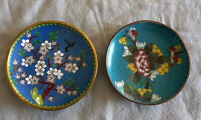 Lot 17 - 2 Vintage Chinese Cloisonne Enamel Floral Pin Tray Trinket Dishes