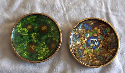 Lot 15 - 2 Vintage Chinese Cloisonne Enamel Floral Pin Tray Trinket Dishes