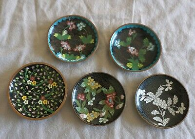 Lot 13 - 5 Vintage Chinese Cloisonne Enamel Floral Pin Tray Trinket Dishes