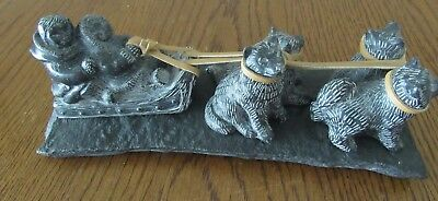 """Aarktic Sculptures Eskimo Dog Team & Sled - Soapstone -Made in Canada 11.5"""" Long"""