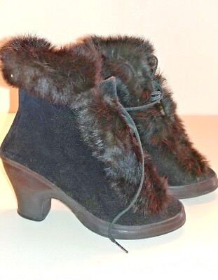 Vintage High Heel Galoshes Snow Shoes with fur. Size 6.5 Winsor Rubber co.