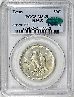 Texas 1935-S Pcgs Ms65 Cac Silver Commemorative..low Mintage
