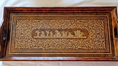 Antique Wooden Marquetry Tray with Glass Top