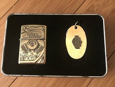 Harley Davidson Collectible Zippo Lighter and Key Ring Set