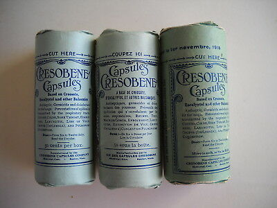 3 antique new packages medicament Cresobene capsules, not to use