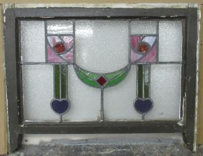 MIDSIZE OLD ENGLISH LEADED STAINED GLASS WINDOW Majestic Floral Hearts 28 x 21.5