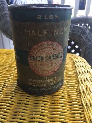 Vintage Union Carbide Tin Can Half Inch-2lbs- For Automobiles And Bicycle Lamps