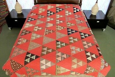 Vintage ANTIQUE Cotton Fabrics FLYING GEESE Hand Sewn Quilt, NEEDS RESTORATION !