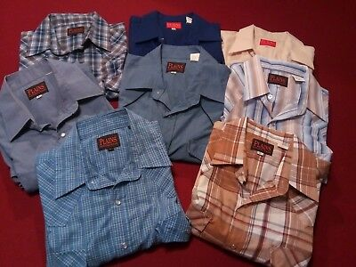 Lot of 8 Mens Large Plains Western Wear Pearl Snap Short Sleeve Shirts Vintage