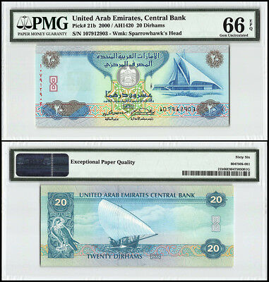 United Arab Emirates - UAE 20 Dirhams, 2000 - 1420, P-21b, Yacht & Golf,PMG 66