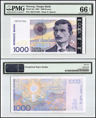 Norway 1,000 (1000) Kronor, 2001 P-52a, Edvard Munch,Melancholy Painting, PMG 66