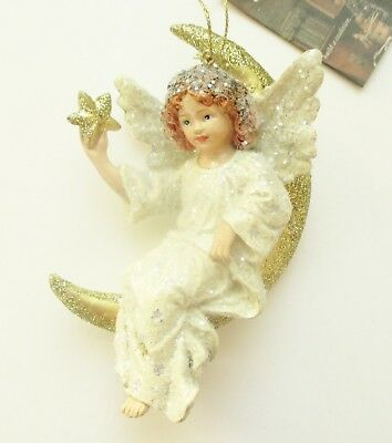 "Bethany Lowe Designs Christmas ""Angel on Moon Ornament"" JG6835"