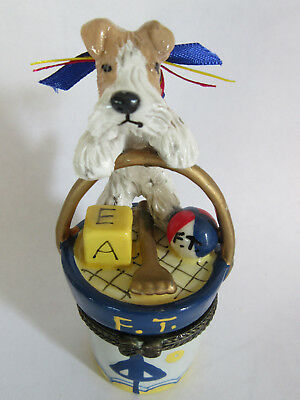 Hand Sculpted ART~~~WIRE FOX TERRIER & TOYS TRINKET JEWELRY BOX~~ART Figurine