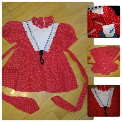 Vintage Girls Jill Dress 2T Red W/ White Polka Dots Lace And Ribbon Tie Back Cut